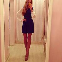 """Стильное осеннее платье """" Белые длинные рукава """" Золотой Песок"""
