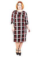 Платье большого размера Платье Волан Клетка серо красная, платье для полных, платье в клетку, дропшиппинг