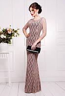 Длинное вечернее гипюровое платье в пол Арсения кофе 42-50 размеры