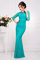 Длинное вечернее гипюровое платье в пол Арсения бирюзовое 42-50 размеры