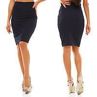Женская стильная трикотажная юбка 053 / темно-синяя