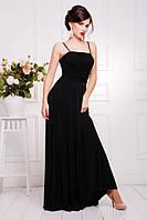 Длинное вечернее  черное платье в пол  Анита 42-50 размеры