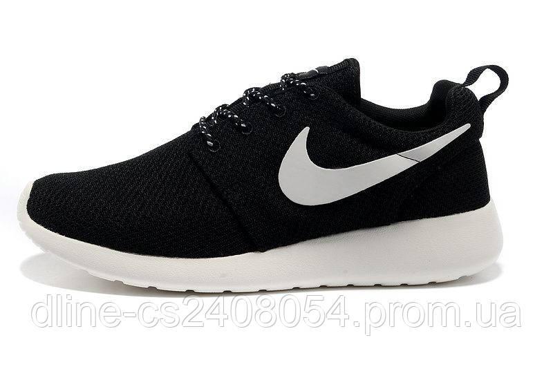 Mужские кроссовки Nike Roshe Run черные / Белая подошва