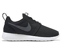 Mужские кроссовки Nike Roshe Run Черное Лого / Белая подошва, фото 1