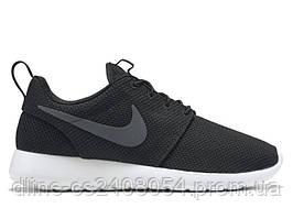 Mужские кроссовки Nike Roshe Run Черное Лого / Белая подошва