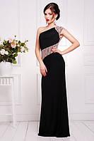 Вечернее женское платье в пол Юна черное  42-50 размеры
