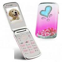 Телефон Nokia W666 раскладушка розовый (Bocoin) 2 sim