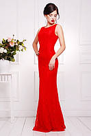 Элегантное вечернее женское платье в пол Мимоза красное  42-50 размеры