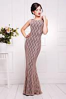 Элегантное вечернее женское платье в пол Мимоза кофе  42-50 размеры