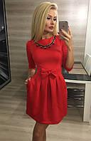 Женское платье с бантом ткань дайвинг цвет красный