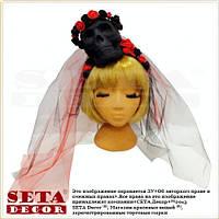 Обруч Череп невесты с фатой карнавальный на Хэллоуин