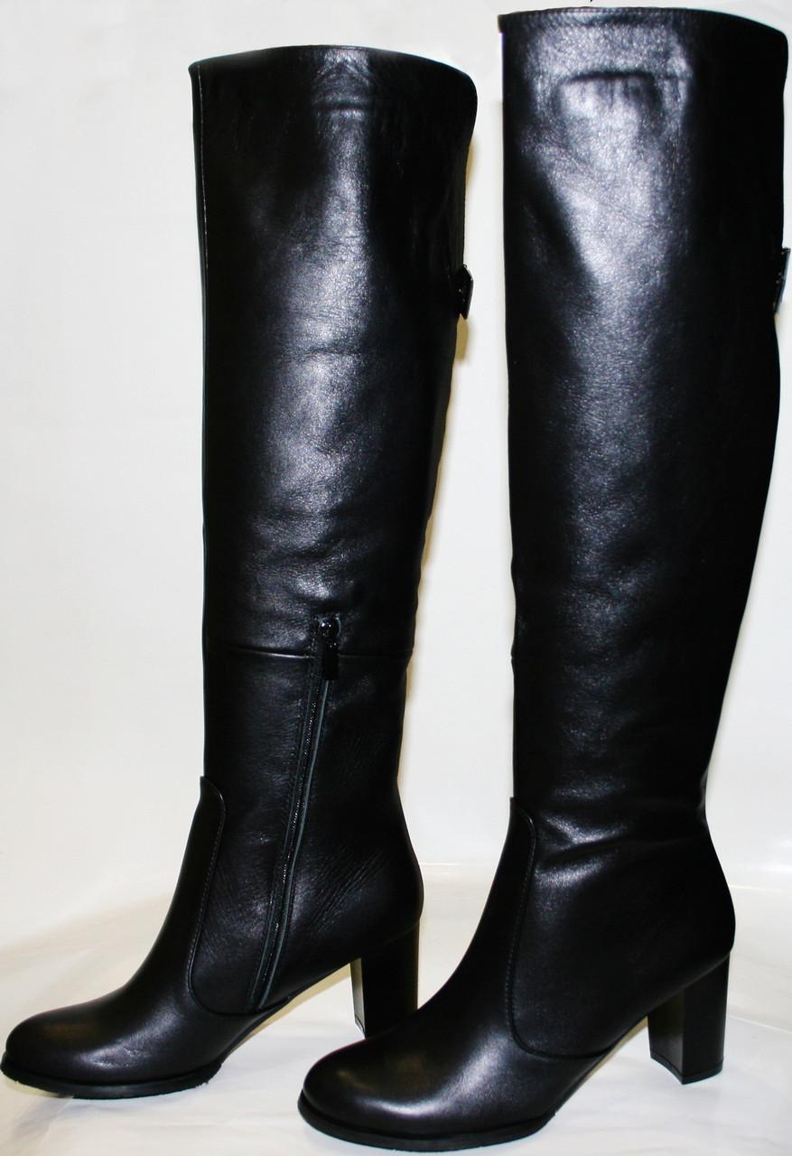 Сапоги осенние женские Cluchini 3345 черные, ботфорты, нат. кожа, каблук,  замочек 5987e652b9b