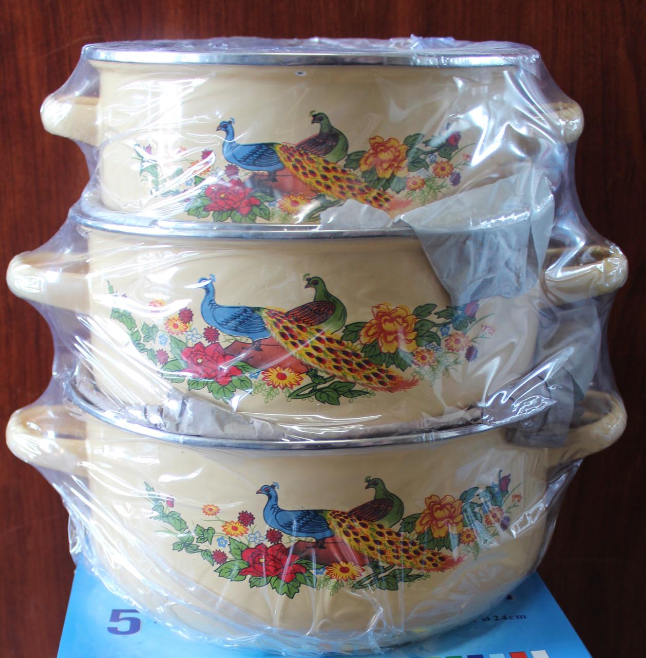 Набор кастрюль эмалированных 1-4 л 4 цвета в ящике