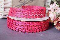"Кружевная лента (тесьма) ""Мелкоцвет"" ярко-розового цвета, ширина 2 см"