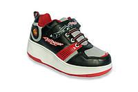 Детские роликовые кроссовки черно-красные