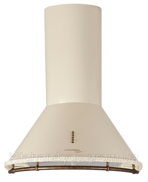 Pyramida BR 60/B ivory rustico (600 мм.) кухонная вытяжка, слоновая кость / рейлинг и кнопки бронза