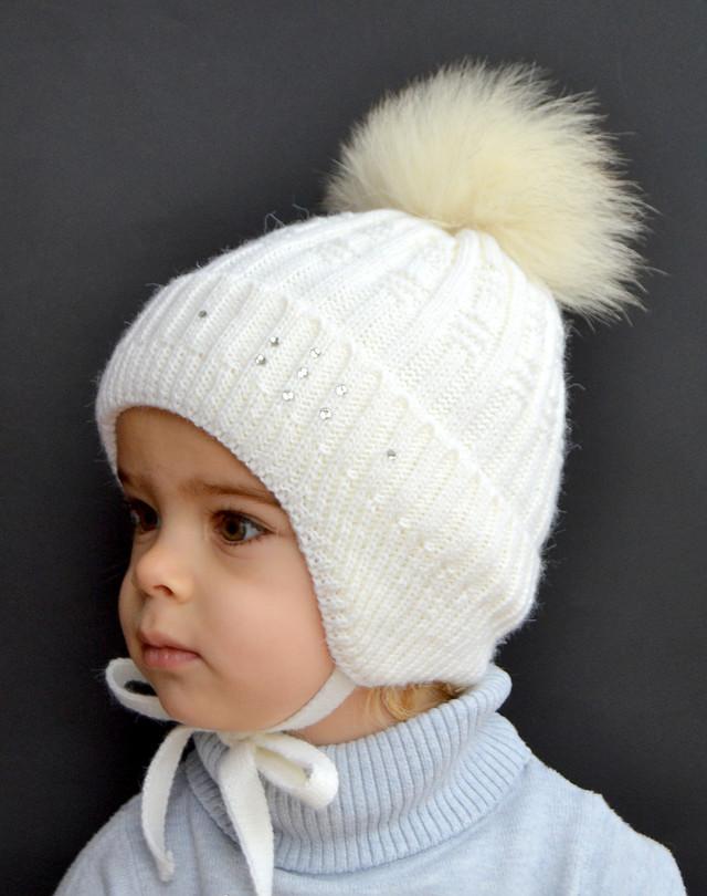 шапка детская с песцом