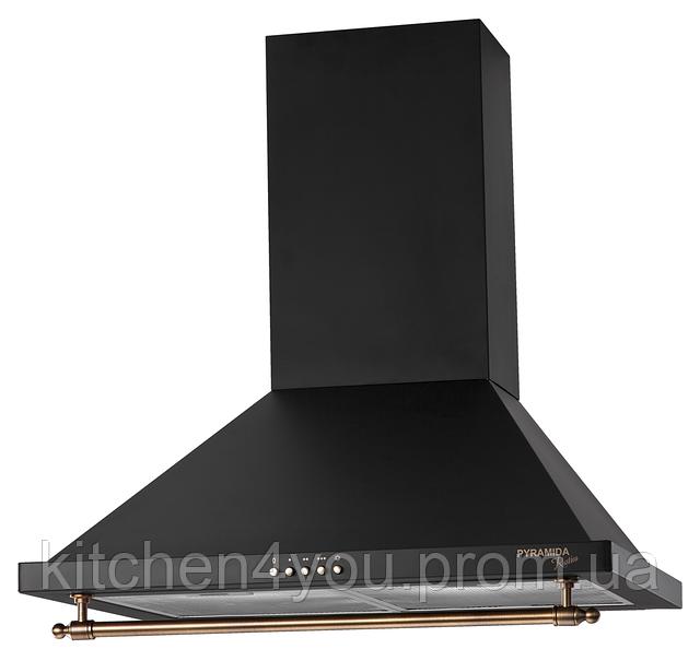 Pyramida KH 60 black rustico (600 мм.) кухонная вытяжка, корпус черная эмаль, рейлинг кнопки бронза