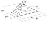 Pyramida HBE 36 (550 мм.) полновтраиваемая кухонная вытяжка, серебристая эмаль, фото 5