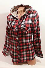 Женские рубашки в клетку байка с капюшоном VSA красный-черный-белый+полоска, фото 3