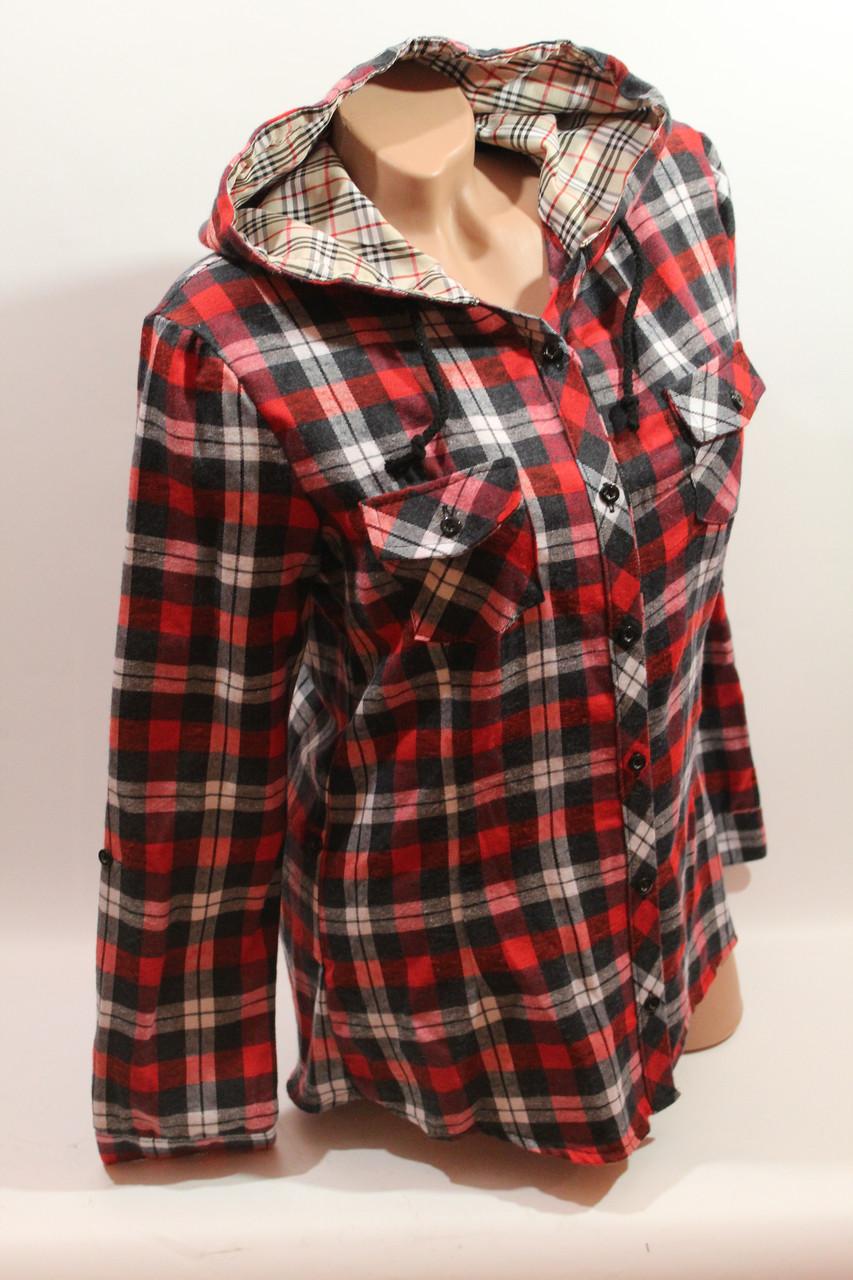 Женские рубашки в клетку байка с капюшоном VSA красный-черный-белый+полоска