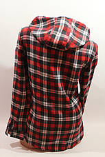 Женские рубашки в клетку байка с капюшоном VSA красный-черный-белый+полоска, фото 2