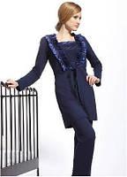 Халат женский домашний синий Kris Cornelia (одежда домашняя для сна, дома и отдыха)