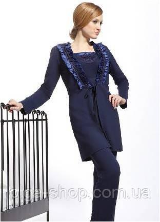 Халат женский домашний синий Kris Cornelia (одежда домашняя для сна ... 4fd13edf92d75