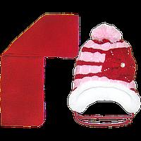 Детская вязаная шапочка на овчине, с шарфом, р. 50-52