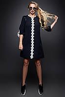 Красивое Короткое Платье на Осень с Карманами Черное S-XL