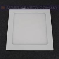 Светодиодный LED светильник панель 15W сверхтонкий квадрат встраиваемый KODE:523012