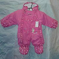 Детский демисезонный комбинезон-трансформер для девочки 0-1 год,малиновый