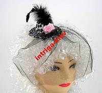 Заколка шляпка гламур с вуалью