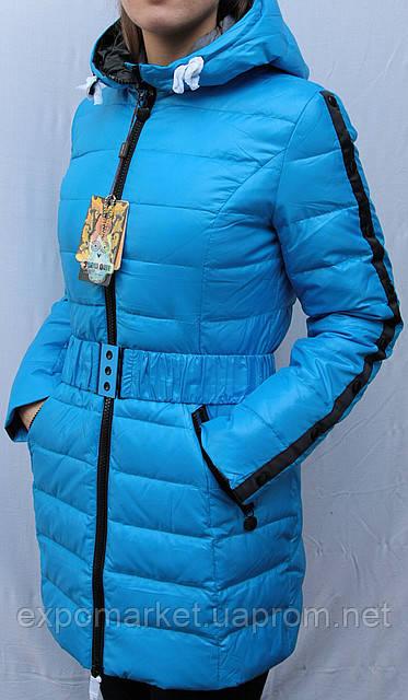 Пуховик куртка женская Snow Owl  с поясом и капюшоном