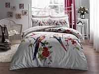 TAC Parrot red сатин семейный комплект постельного белья