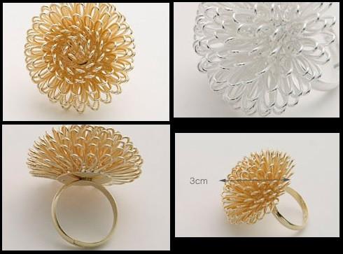 Кольцо Танцующий цветок / бижутерия/ размер регулируется/ цвет золото