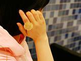 Кольцо Танцующий цветок / бижутерия/ размер регулируется/ цвет золото, фото 2