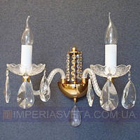 Бра свечи на стену с хрустальными подвесками двухламповое KODE:356425
