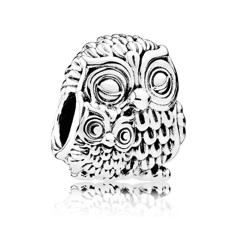 Шарм «Очаровательные совы» из серебра 925 пробы