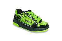 Детские кроссовки с роликами 12H3 зелено-черные