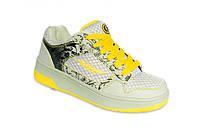 Детские кроссовки с роликами 12H3 серо-желтые