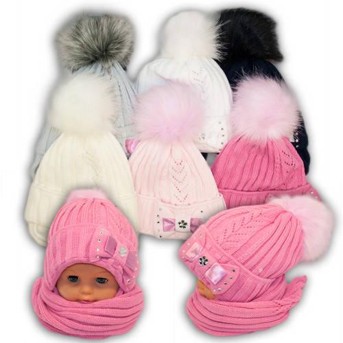 Детский комплект - шапка и шарф для девочки, A639F, Grans (Польша)