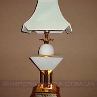 Лампа настольная в декоративном стиле светильник одноламповый с абажуром и дополнительной подсветкой основания KODE:432035