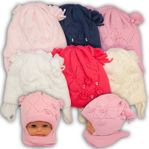 Детский комплект - шапка и шарф для девочки, A720ST, Grans (Польша), утеплитель Softi Term