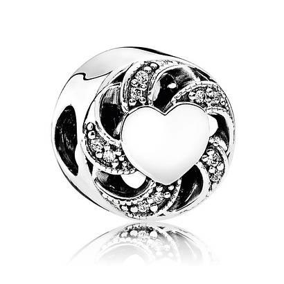 Шарм «Сердечные нити» из серебра