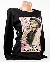 Модный свитшот женский принт черный p.44-46 N1903