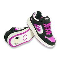 Кроссовки ролики черно-фиолетовые