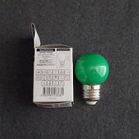 Лампа светодиодная LED 1W E27 зелёная шарик KODE:534521