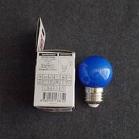 Лампа светодиодная LED 1W E27 синяя шарик KODE:534523