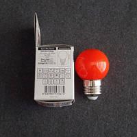 Лампа светодиодная LED 1W E27 красная шарик KODE:534522